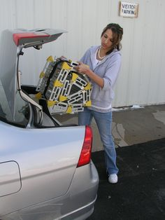 The superior go-anywhere ramp, Roll-A-Ramp can by transported in the trunk of a car. www.rollaramp.com