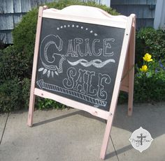 Chalk Board Folding Sidewalk Sign using recycled crib ends, etc. by ProdigalPieces,
