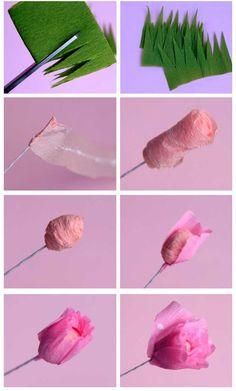 como fazer flor rosa de papel crepom decoracao casamento aniversario batizado (2)
