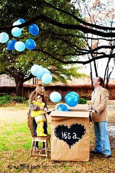 Perfect idea for a gender reveal...send the picture or video to family and friends to see!
