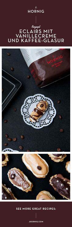 Mini-Eclairs mit Vanille-Füllung und Kaffeeglasur: Wem läuft da nicht das Wasser im Mund zusammen? Das Rezept findest du auf unserem Blog.   #kaffee #coffee #backen #bakery #minieclaires #eclaires #vanille Eclairs, Profiteroles, Mini E, Granita, Great Recipes, Ethnic Recipes, Blog, Vanilla Cream, Biscuits