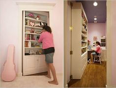 Secret passageway through bookcase