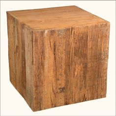 This multi-use natural art piece is built with reclaimed wood from railroad ties. Use this versatile piece as an accent table, art piece, or display pedestal.