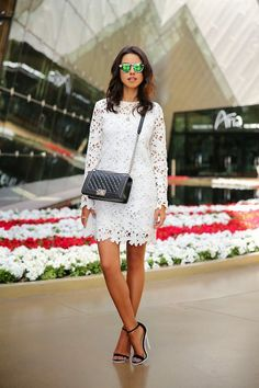 black and white, lace and strappy heels, chanel.
