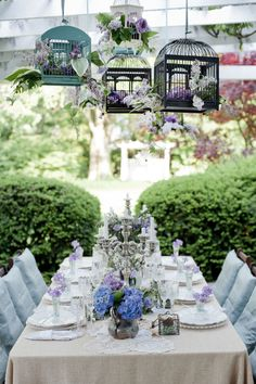 Bridal Inspiration Shoot with Provence Themed Styling set in Lavender backdrop French Bridal Showers, Portuguese Wedding, Provence Wedding, Bridal Shower Tables, Cancun Wedding, Strictly Weddings, Bird Cages, Table Arrangements, Bridal Shoot