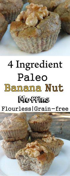4 Ingredient paleo banana nut muffins (grain-free, flourless, sugar-free, sweetener-free, no honey, gluten-free, healthy)