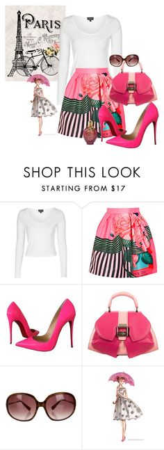 """""""I love being a girl!"""" by briannaandrews500 ❤ liked on Polyvore featuring Topshop, Mary Katrantzou, Christian Louboutin, Anya Sushko and Oliver Peoples"""