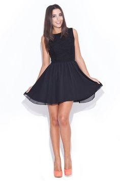 Rochie eleganta neagra cu fusta clos