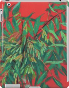 """""""Ash-tree, floral art, red & green, summer greenery"""" iPad Cases & Skins by clipsocallipso 