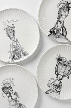 Ladies in Waiting Parisian dinner plates by Anthropology.  The artist is Florence Balducci.  Good Wall Art