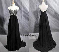 Black Long Prom Dress - Long Black Prom Dress / A-line Beading prom Dress / Black Evening Dress op Etsy, 112,45€