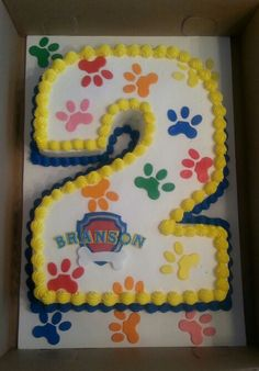 cake with paw prints in Paw Patrol colours Paw Patrol Birthday Cake, Paw Patrol Cake, Paw Patrol Party, Third Birthday, 4th Birthday Parties, Birthday Fun, Birthday Ideas, Puppy Party, First Birthdays
