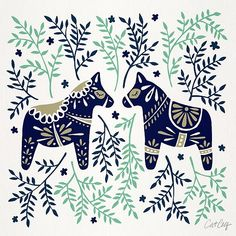 Swedish Dala Horse – Navy & Mint Palette by Cat Coquillette