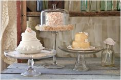 pretty mini cakes on vintage glass cake stands sweets display little girls dream wedding vintage pa