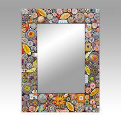 """In Plain Sight"" Hand-made Ceramic Tile Mosaic Mirror - Lynn Ihsen Peterson | Touchstone Gallery"