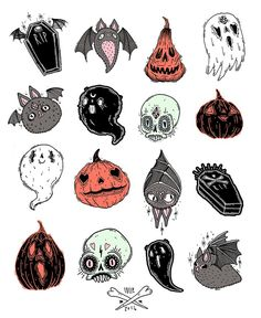 I love Halloween and autumn. Anyone wanna join me for a Halloween party just ask, okay? And don't be afraid to ask me anything, halloween/autumn related or not! Photo Halloween, Halloween Prints, Halloween Pictures, Halloween Art, Halloween Tattoo Flash, Halloween Designs, Halloween Stickers, Posca Art, Illustration Art