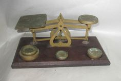 Vintage Brass Postal Scales with weights made in England