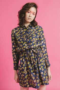 爭奇綻放 - 復古花朵蠶絲束腰雙口袋襯衫洋裝 - NANHI 男孩 | Pinkoi