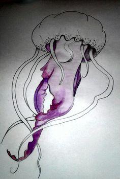 Beginning process of watercolor/pencil jellyfish