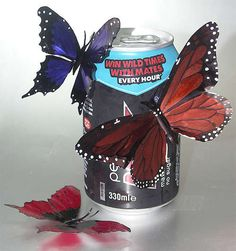 Aluminum Can Butterflies (colored with markers)