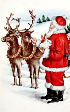 Shop Vintage Christmas Santa Sleigh Reindeer Holiday Postcard created by ChristmasByDezign. Vintage Christmas Images, Old Christmas, Old Fashioned Christmas, Retro Christmas, Christmas Pictures, Reindeer Christmas, Santa Pictures, Christmas Decor, Xmas