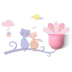 New Wayzon Multi Function Couple Cats Removable PVC Nursery Wall Sticker with 2 Plastic Wall Adhesive Hooks and 1 Storage Box Set Home Decor Decals for Kitchen, Washroom, Bedroom, Bathroom >>> Additional details at the pin image, click it  : Wall Stickers and Murals for Home Decor