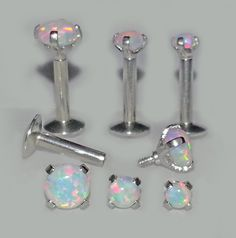 16g 1/4 5/16 or 3/8  WHITE OPAL Prong by GlimmerSparkleShine