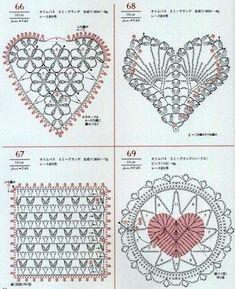 Crochet and arts: crochet motifs Grannies Crochet, Crochet Motifs, Crochet Diagram, Crochet Chart, Crochet Squares, Thread Crochet, Crochet Stitches, Crochet Butterfly, Crochet Hearts