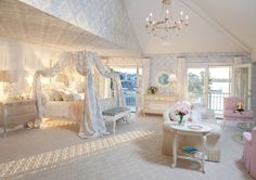 8 Over-the-Top Bedrooms for Kids | Sophisticated style. - Some girls want to be princesses forever. If your little princess still loves girly style well into her teen years, this glamorous room could provide some decorative inspiration. Can't you just see a group of teens snuggled up on the overstuffed furniture and luxurious canopy bed to watch a movie?