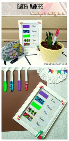 DIY garden markers with duct tape Easy Crafts, Diy And Crafts, Crafts For Kids, Paper Crafts, Garden Markers, Duct Tape, Make It Simple, Craft Projects, Gift Wrapping