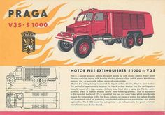 1961 Praga V3S-S 1000 Fire Truck Brochure Police, Fire Extinguisher, Fire Department, Car Detailing, Cars And Motorcycles, Techno, Trucks, Eastern Europe, Vehicles