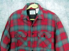 Quilted Flannel Jacket Shirt XL Ozark Trail Red Green Plaid Hunting Outdoors #OzarkTrail #QuiltedFlannelJacketShirt