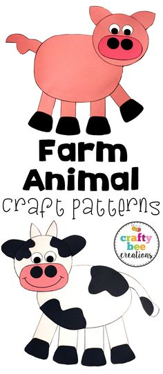 Find 9 different farm animal patterns here. This set of patterns adds a lot of fun to a farm unit! Patterns are very easy to use and are kid friendly. Farm Theme Crafts, Farm Animal Crafts, Animal Crafts For Kids, Farm Animals, Art For Kids, Farm Lessons, Farm Day, Farm Unit, Farm Activities
