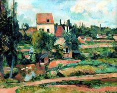 """Paul Cézanne, """"Molino Couleuvre en Pontoise"""" Cuadro pintado en 1881 por Paul Cézanne. Muestra uno de los muchos molinos en la región de Pontoise, que en aquella época dependieron del comercio de grano para su existencia.."""