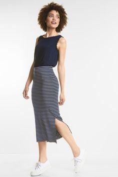 Street One 5-pocket casual fit broek met zijstreep | Crissi