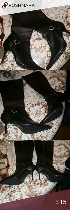 Adorable black boots with rhinestone heart Only worn once, great condition, a few minor scuffs, yet hardly noticeable. Adorable rhinestone heart on the ankle area of each boot, pointed toes and hit just below the knee. Just in time to wear for Valentines Day. All man made material. 4 in. Heel unknown  Shoes Heeled Boots