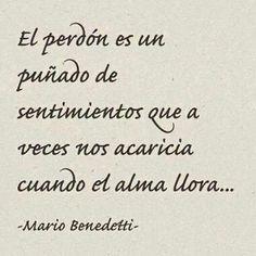 El perdón es un puñado de sentimientos que a veces nos acaricia cuando el alma llora....Mario Benedetti.