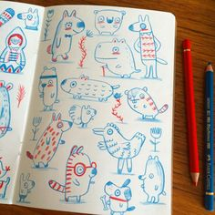 Some quickly drawn critters to start the day. © Linzie Hunter. #drawing #doodle #illustration #characterdesign #characters #animals #cute #sketchbook #sketch