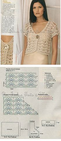 Szydełko - Stylowi.pl - Odkrywaj, kolekcjonuj, kupuj Crochet Chart, Bolero Crochet, Crochet Saco, Crochet Stitches Patterns, Crochet Hooks, Knitting Patterns, Bolero Pattern, Crochet Cardigan Pattern, Crochet Jacket