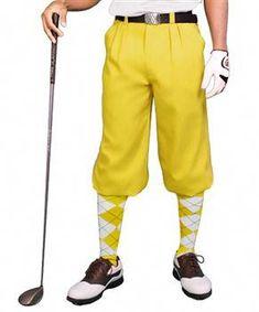 Golf Knickerbocker #golflifestyle #GolfKnickers Golf Knickers, Golf Pride Grips, Plus Fours, Argyle Socks, Play Golf, Mens Golf, Golf Shoes, Black N Yellow, Harem Pants