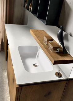 Like this very modern bathroom faucet. Wall-mounted oak vanity unit with doors MAIA 301 Maia Collection by Edoné by Agorà Group Bathroom Furniture Inspiration, Bathroom Furniture Design, Modern Bathroom Design, Modern Bathrooms, Bathroom Ideas, Oak Vanity Unit, Ideas Baños, Washbasin Design, Natural Bathroom