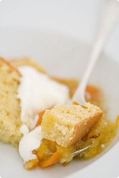 Weekend lemon cake with clementine confit and crème fraiche