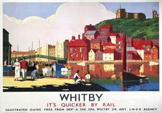 Whitby Harbour Yorkshire. LNER Vintage Travel Poster by K Hauff. c1930