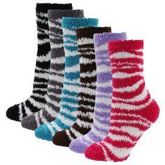 Soft Warm Microfiber Fuzzy Winter Socks Crew 12pairs(1pack) 6 style Zibra:Amazon:Clothing