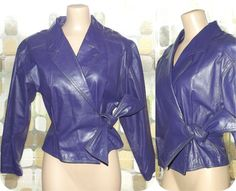Vintage 80s Dark Purple Leather Cropped Jacket by IntrigueU4Ever