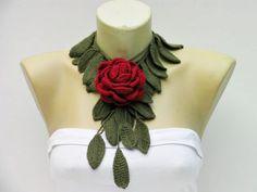 red rose crochet flower jewelry