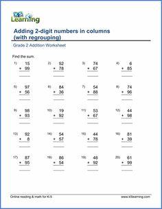 Grade Math Worksheets  Free Addition Worksheets Column Addition