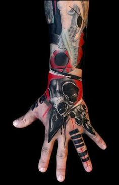 Incredible Abstract Trash Polka tattoo Sleeve