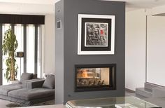Axis H1200DS double sided inbuilt wood fireplace - Woodpecker