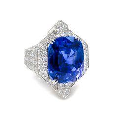 An Important Platinum, Gold, Ceylon Sapphire and Diamond Ring, David Webb (est. $250,000 - $350,000) (=)